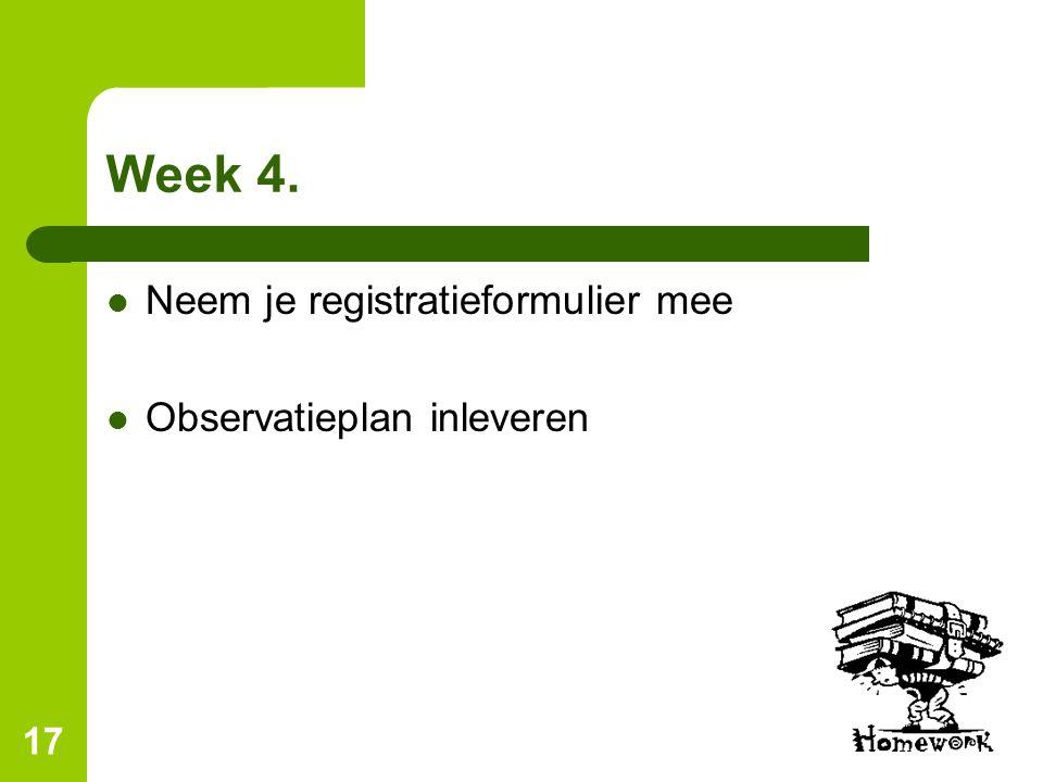17 Week 4. Neem je registratieformulier mee Observatieplan inleveren
