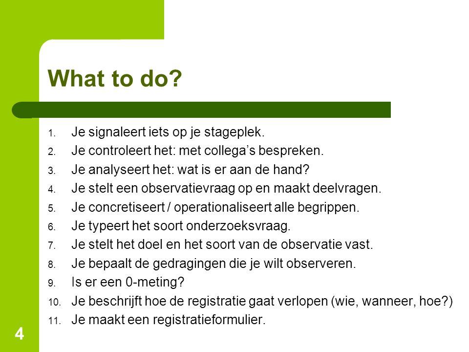What to do? 1. Je signaleert iets op je stageplek. 2. Je controleert het: met collega's bespreken. 3. Je analyseert het: wat is er aan de hand? 4. Je