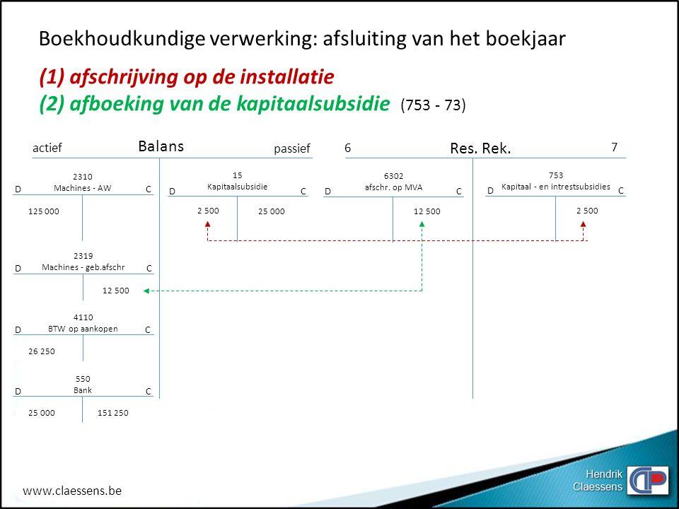 Boekhoudkundige verwerking: afsluiting van het boekjaar (1) afschrijving op de installatie (2) afboeking van de kapitaalsubsidie (753 - 73) actief pas