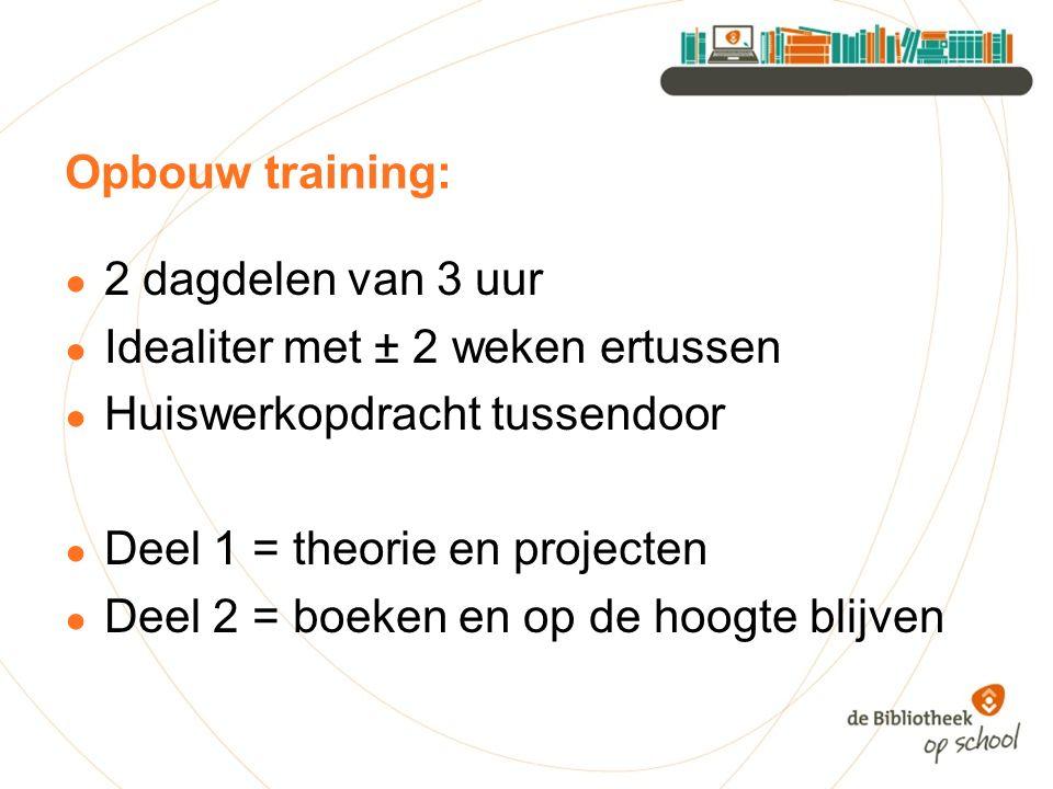 Opbouw training: ● 2 dagdelen van 3 uur ● Idealiter met ± 2 weken ertussen ● Huiswerkopdracht tussendoor ● Deel 1 = theorie en projecten ● Deel 2 = bo