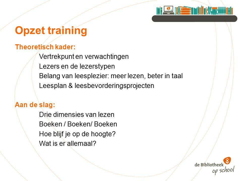 Opzet training Theoretisch kader: Vertrekpunt en verwachtingen Lezers en de lezerstypen Belang van leesplezier: meer lezen, beter in taal Leesplan & l