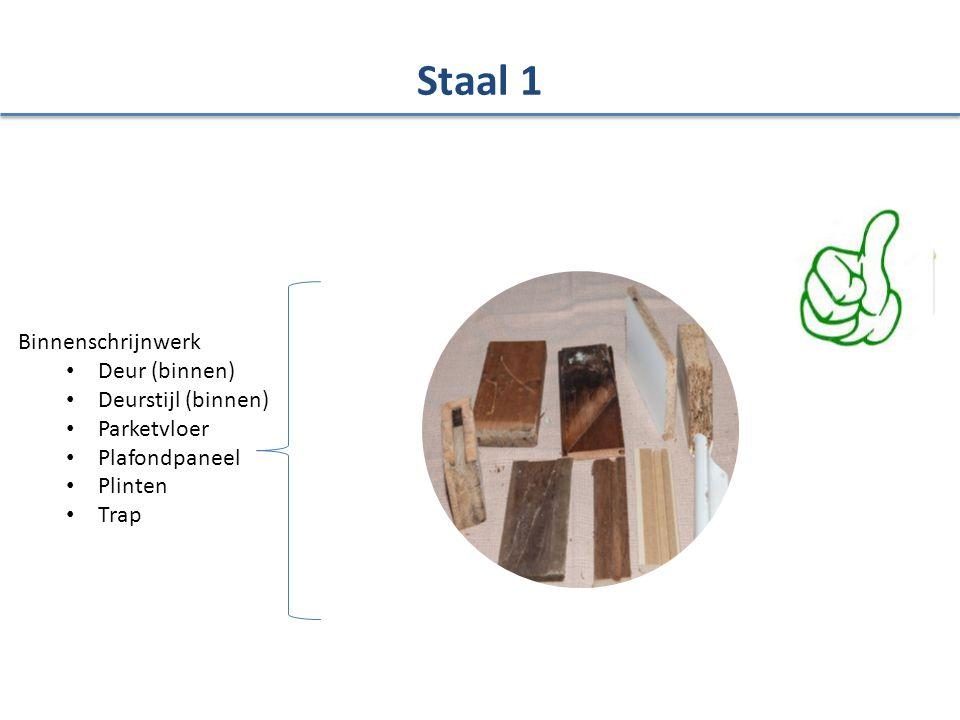 Binnenschrijnwerk Deur (binnen) Deurstijl (binnen) Parketvloer Plafondpaneel Plinten Trap Staal 1