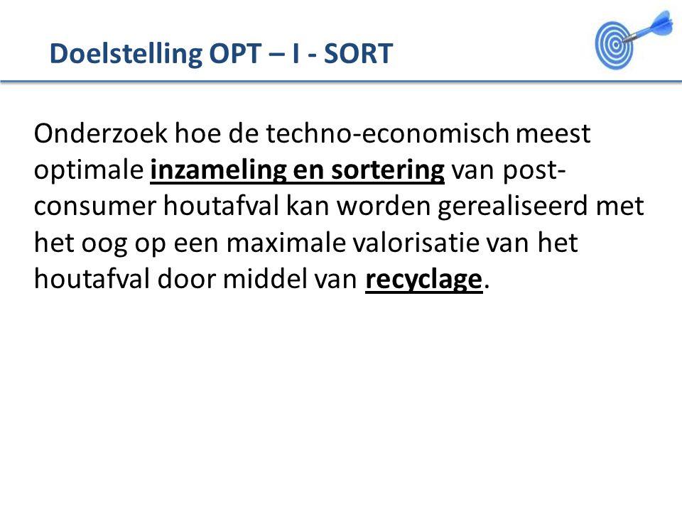 Doelstelling OPT – I - SORT Onderzoek hoe de techno-economisch meest optimale inzameling en sortering van post- consumer houtafval kan worden gerealiseerd met het oog op een maximale valorisatie van het houtafval door middel van recyclage.
