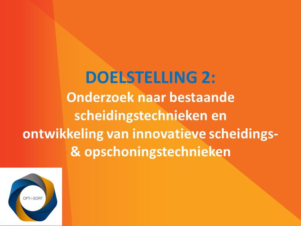 DOELSTELLING 2: Onderzoek naar bestaande scheidingstechnieken en ontwikkeling van innovatieve scheidings- & opschoningstechnieken