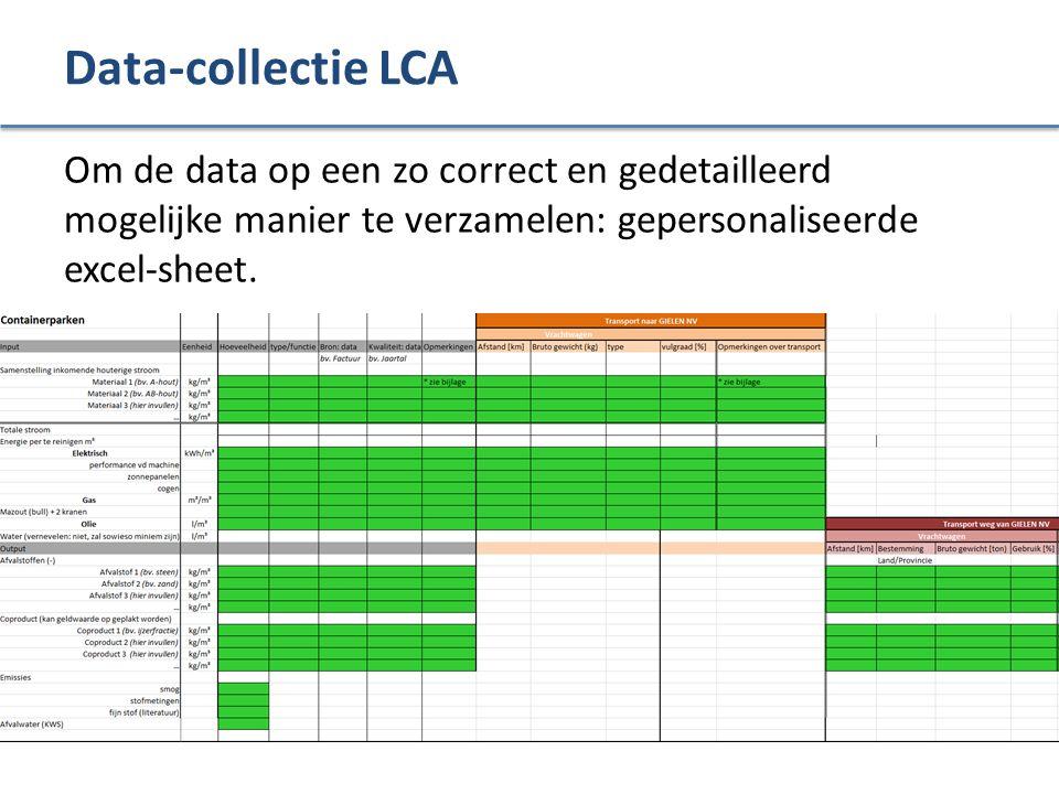 Data-collectie LCA Om de data op een zo correct en gedetailleerd mogelijke manier te verzamelen: gepersonaliseerde excel-sheet.