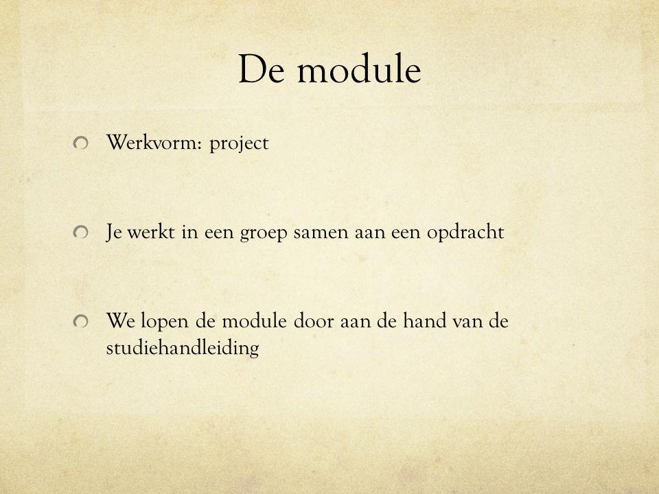 De module Werkvorm: project Je werkt in een groep samen aan een opdracht We lopen de module door aan de hand van de studiehandleiding