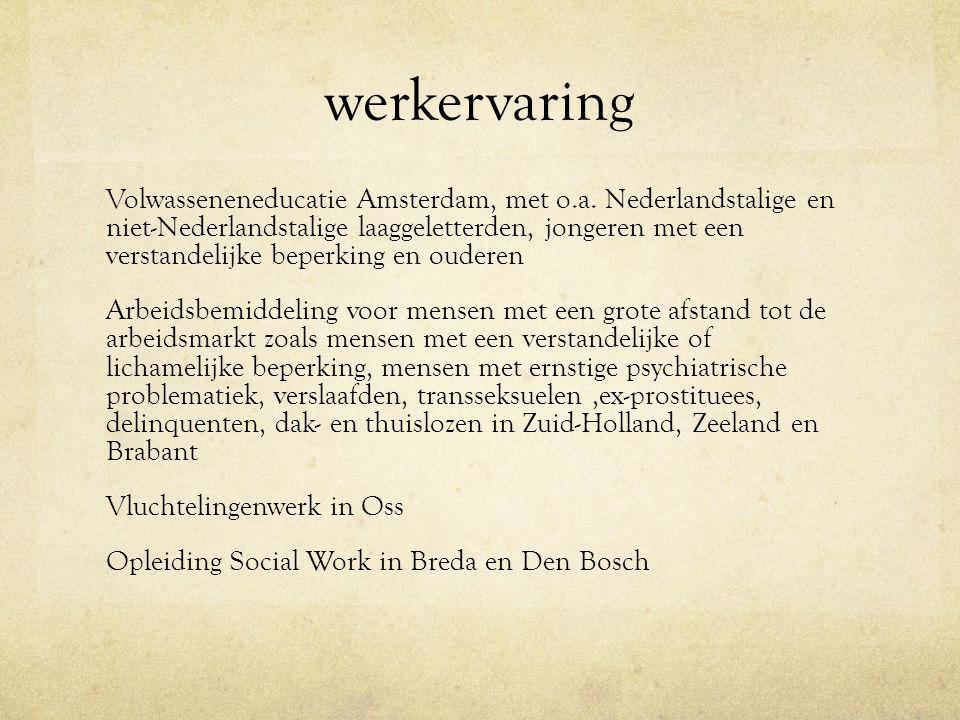 werkervaring Volwasseneneducatie Amsterdam, met o.a.