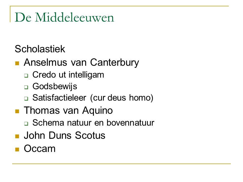 De Middeleeuwen Scholastiek Anselmus van Canterbury  Credo ut intelligam  Godsbewijs  Satisfactieleer (cur deus homo) Thomas van Aquino  Schema na