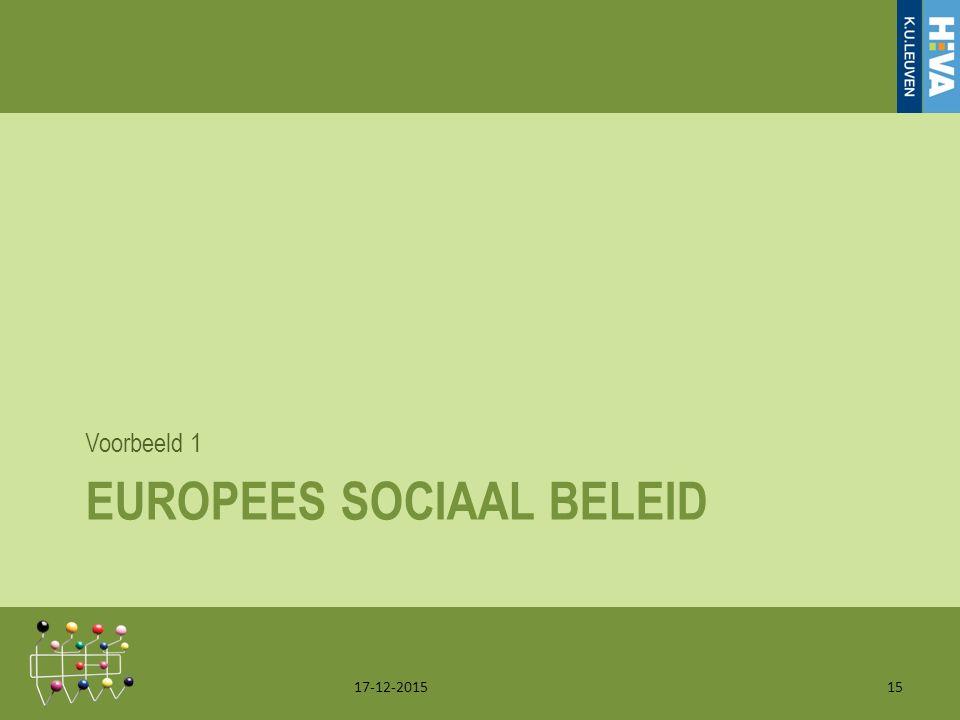 EUROPEES SOCIAAL BELEID Voorbeeld 1 17-12-201515