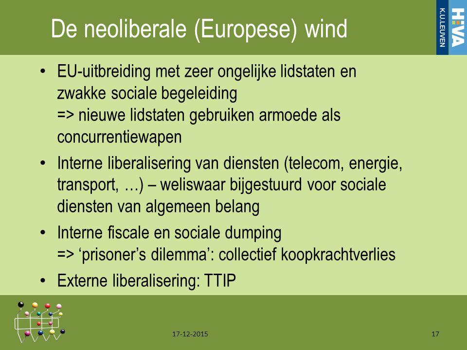 De neoliberale (Europese) wind EU-uitbreiding met zeer ongelijke lidstaten en zwakke sociale begeleiding => nieuwe lidstaten gebruiken armoede als concurrentiewapen Interne liberalisering van diensten (telecom, energie, transport, …) – weliswaar bijgestuurd voor sociale diensten van algemeen belang Interne fiscale en sociale dumping => 'prisoner's dilemma': collectief koopkrachtverlies Externe liberalisering: TTIP 17-12-201517
