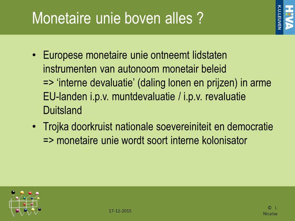 Monetaire unie boven alles .
