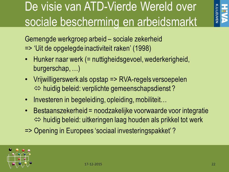 De visie van ATD-Vierde Wereld over sociale bescherming en arbeidsmarkt Gemengde werkgroep arbeid – sociale zekerheid => 'Uit de opgelegde inactiviteit raken' (1998) Hunker naar werk (= nuttigheidsgevoel, wederkerigheid, burgerschap, …) Vrijwilligerswerk als opstap => RVA-regels versoepelen  huidig beleid: verplichte gemeenschapsdienst .