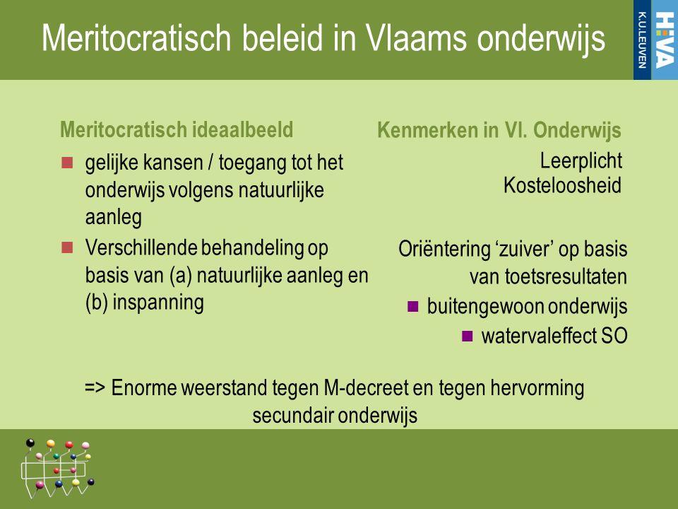 Meritocratisch beleid in Vlaams onderwijs Meritocratisch ideaalbeeld gelijke kansen / toegang tot het onderwijs volgens natuurlijke aanleg Verschillende behandeling op basis van (a) natuurlijke aanleg en (b) inspanning Kenmerken in Vl.
