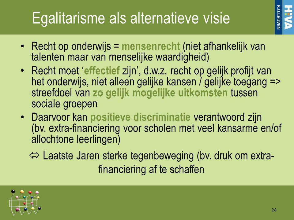 Egalitarisme als alternatieve visie Recht op onderwijs = mensenrecht (niet afhankelijk van talenten maar van menselijke waardigheid) Recht moet ' effectief zijn', d.w.z.