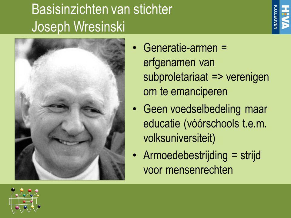 Basisinzichten van stichter Joseph Wresinski Generatie-armen = erfgenamen van subproletariaat => verenigen om te emanciperen Geen voedselbedeling maar educatie (vóórschools t.e.m.