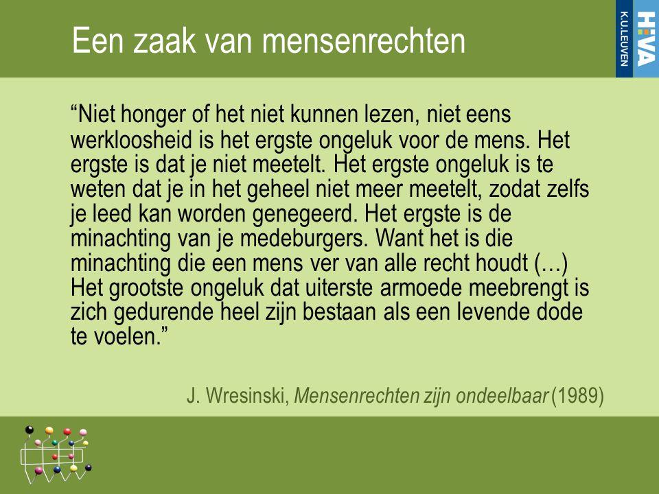 Voorlopig besluit Armoede 'lenigen' is een plicht maar blijft 'dweilen met de kraan open' Armoede aan de wortel uitroeien (structureel) is bouwen aan een samenleving die gestoeld is op fundamenteel vertrouwen in de groeikansen van kwetsbare groepen en in de waarde van hun bijdrage aan de samenleving => Hun armoede is onze armoede, hun ontvoogding is onze (morele) bevrijding 17-12-201529