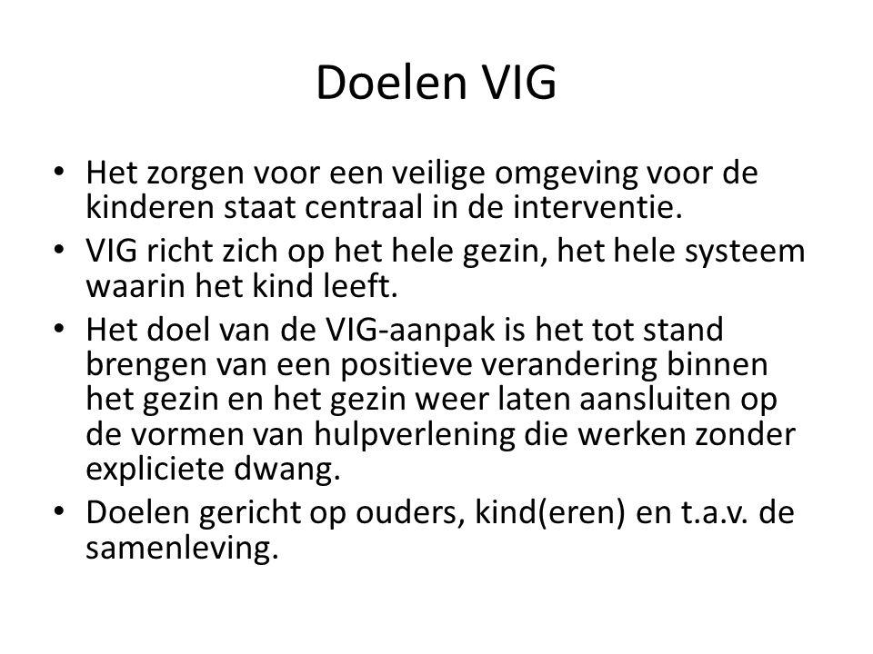 Doelen VIG Het zorgen voor een veilige omgeving voor de kinderen staat centraal in de interventie. VIG richt zich op het hele gezin, het hele systeem