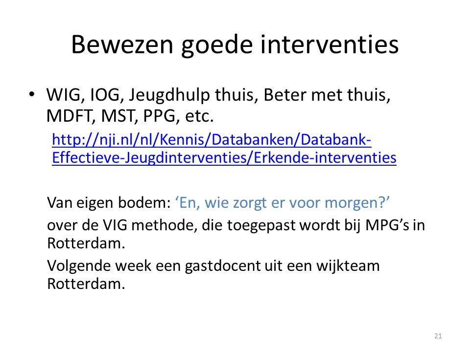 Bewezen goede interventies WIG, IOG, Jeugdhulp thuis, Beter met thuis, MDFT, MST, PPG, etc. http://nji.nl/nl/Kennis/Databanken/Databank- Effectieve-Je