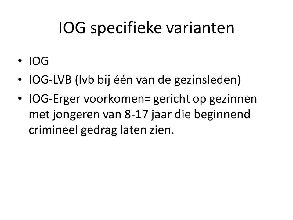 IOG specifieke varianten IOG IOG-LVB (lvb bij één van de gezinsleden) IOG-Erger voorkomen= gericht op gezinnen met jongeren van 8-17 jaar die beginnen