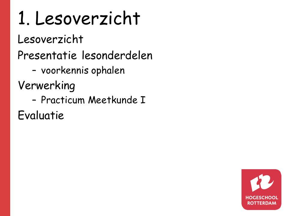 1. Lesoverzicht Lesoverzicht Presentatie lesonderdelen –voorkennis ophalen Verwerking –Practicum Meetkunde I Evaluatie