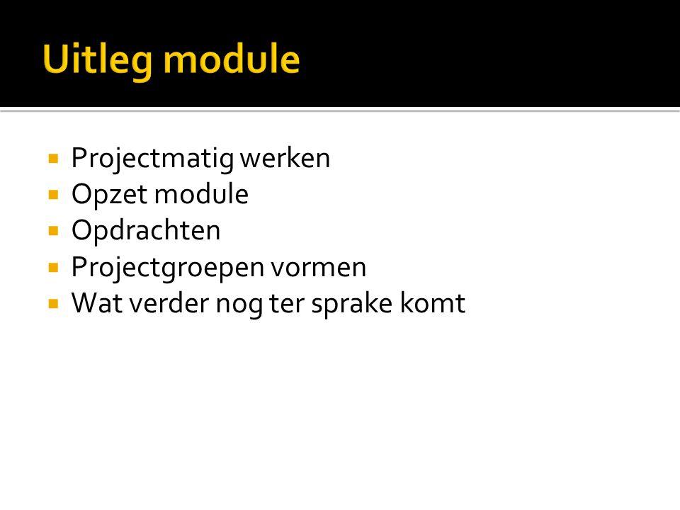  Projectmatig werken  Opzet module  Opdrachten  Projectgroepen vormen  Wat verder nog ter sprake komt
