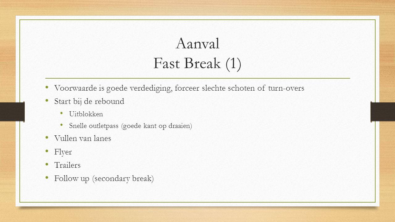 Aanval Fast Break (1) Voorwaarde is goede verdediging, forceer slechte schoten of turn-overs Start bij de rebound Uitblokken Snelle outletpass (goede