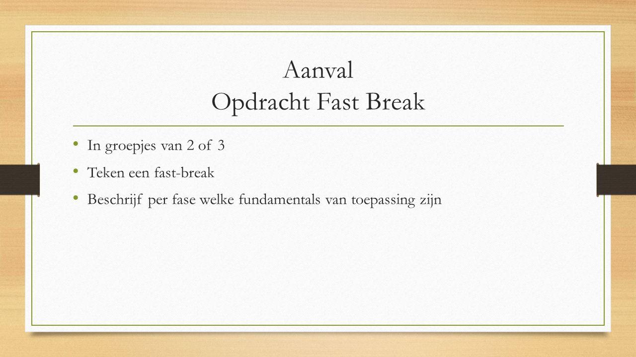 Aanval Opdracht Fast Break In groepjes van 2 of 3 Teken een fast-break Beschrijf per fase welke fundamentals van toepassing zijn