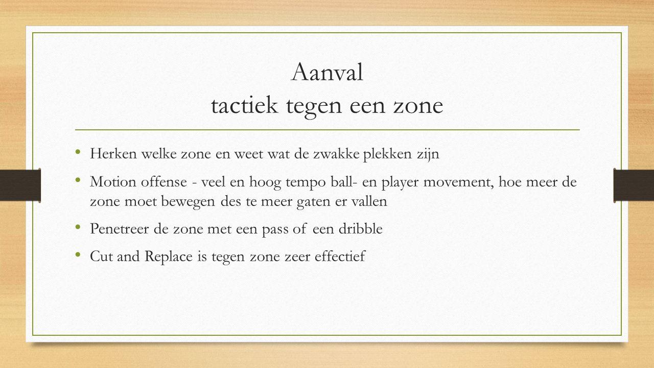 Aanval tactiek tegen een zone Herken welke zone en weet wat de zwakke plekken zijn Motion offense - veel en hoog tempo ball- en player movement, hoe m