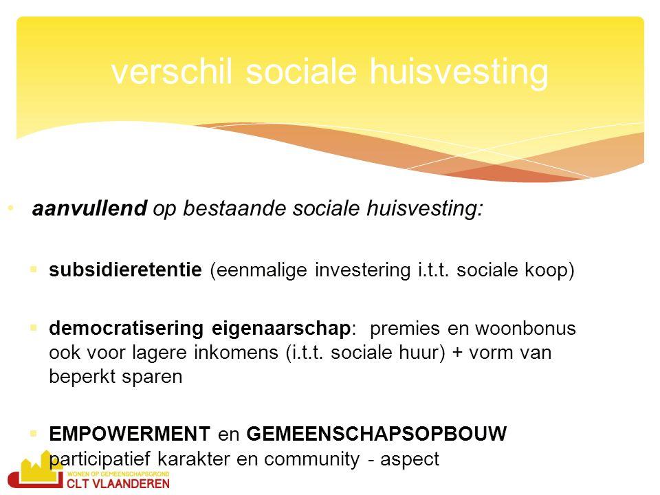 aanvullend op bestaande sociale huisvesting:  subsidieretentie (eenmalige investering i.t.t.