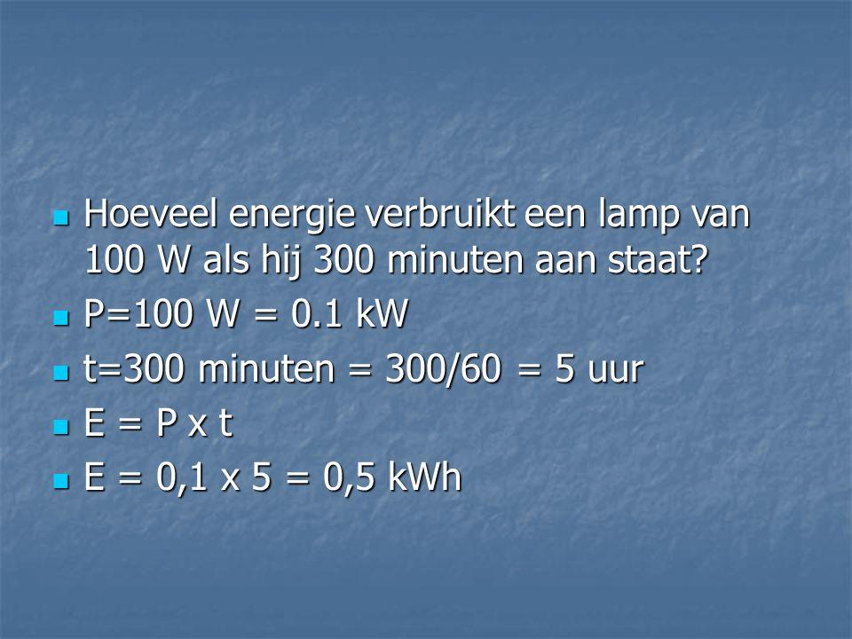 Hoeveel energie verbruikt een lamp van 100 W als hij 300 minuten aan staat? Hoeveel energie verbruikt een lamp van 100 W als hij 300 minuten aan staat