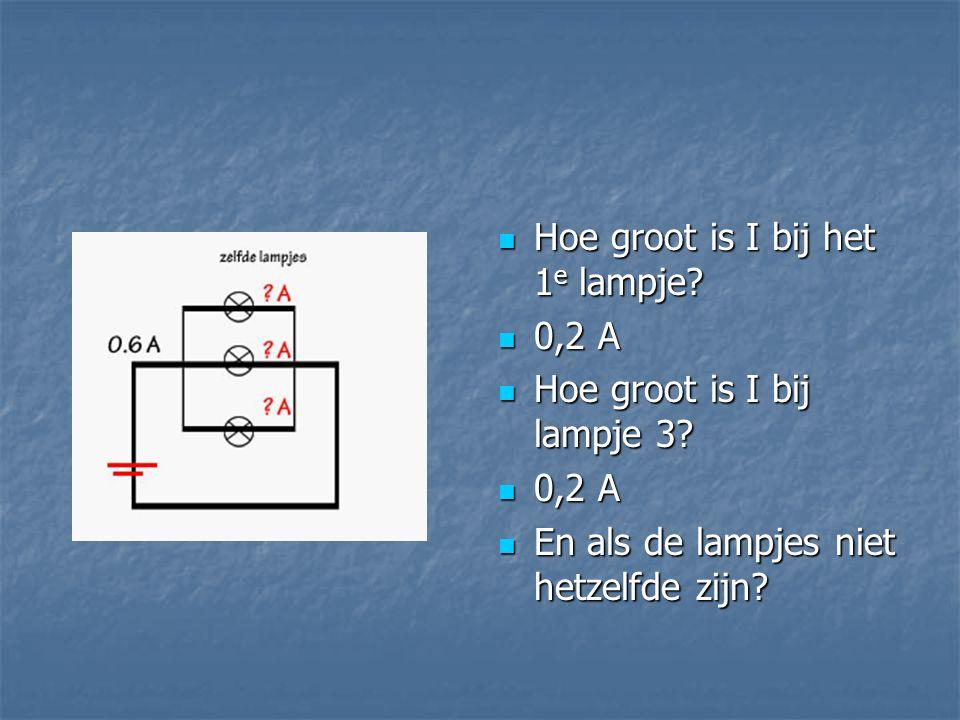 Hoe groot is I bij het 1 e lampje? Hoe groot is I bij het 1 e lampje? 0,2 A 0,2 A Hoe groot is I bij lampje 3? Hoe groot is I bij lampje 3? 0,2 A 0,2