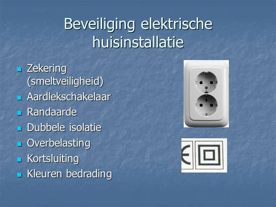 Beveiliging elektrische huisinstallatie Zekering (smeltveiligheid) Zekering (smeltveiligheid) Aardlekschakelaar Aardlekschakelaar Randaarde Randaarde