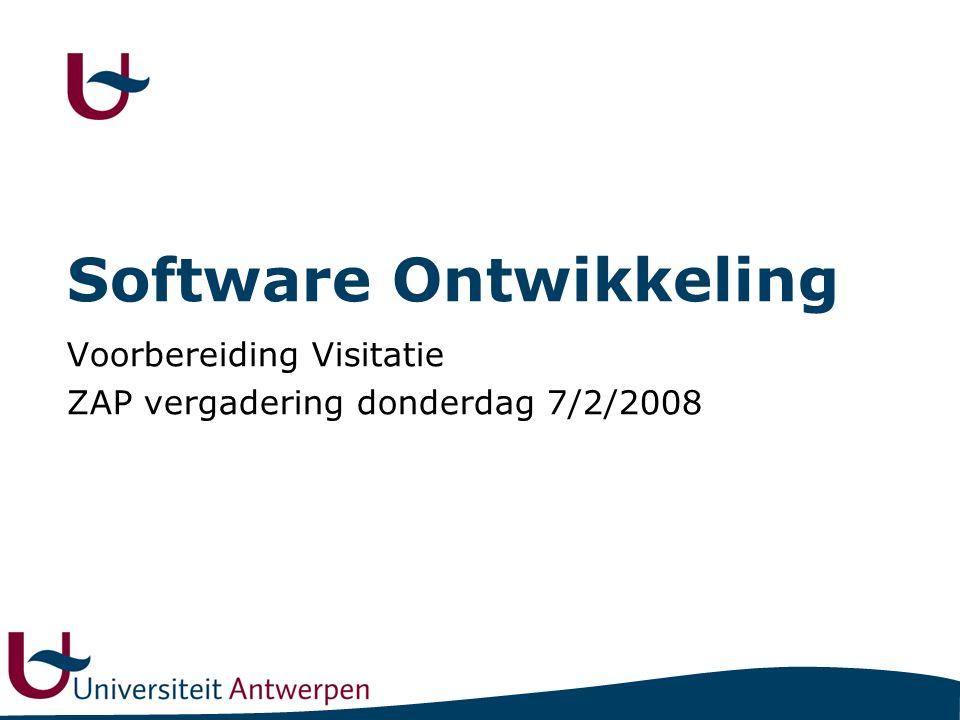 Software Ontwikkeling Voorbereiding Visitatie ZAP vergadering donderdag 7/2/2008