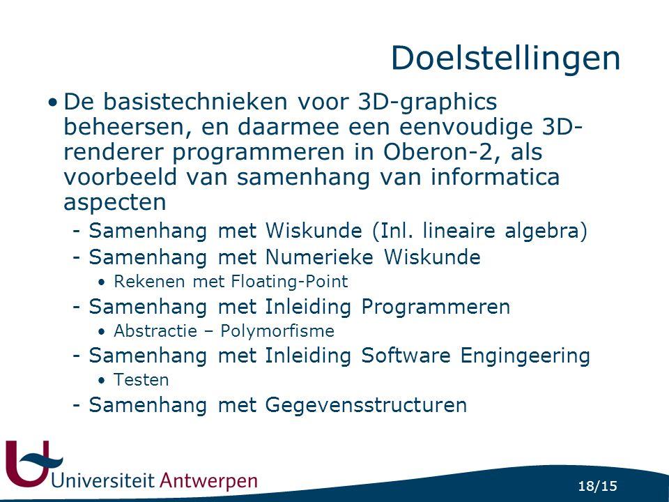 18/15 Doelstellingen De basistechnieken voor 3D-graphics beheersen, en daarmee een eenvoudige 3D- renderer programmeren in Oberon-2, als voorbeeld van samenhang van informatica aspecten -Samenhang met Wiskunde (Inl.