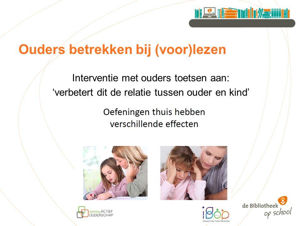Ouders betrekken bij (voor)lezen Interventie met ouders toetsen aan: 'verbetert dit de relatie tussen ouder en kind'