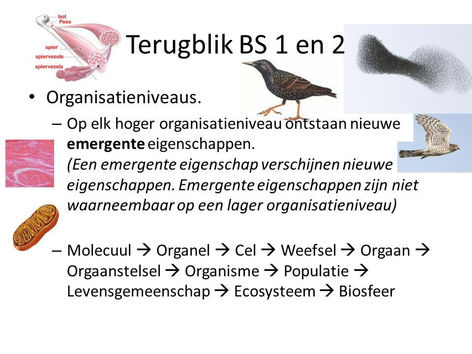 Organisatieniveaus.– Op elk hoger organisatieniveau ontstaan nieuwe emergente eigenschappen.