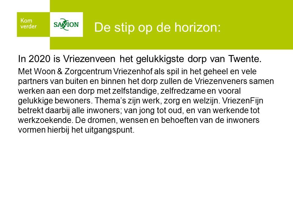 De stip op de horizon: In 2020 is Vriezenveen het gelukkigste dorp van Twente. Met Woon & Zorgcentrum Vriezenhof als spil in het geheel en vele partne