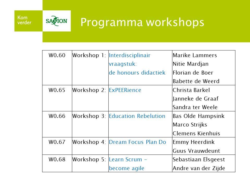 Programma workshops W0.60Workshop 1:InterdisciplinairMarike Lammers vraagstuk:Nitie Mardjan de honours didactiekFlorian de Boer Babette de Weerd W0.65