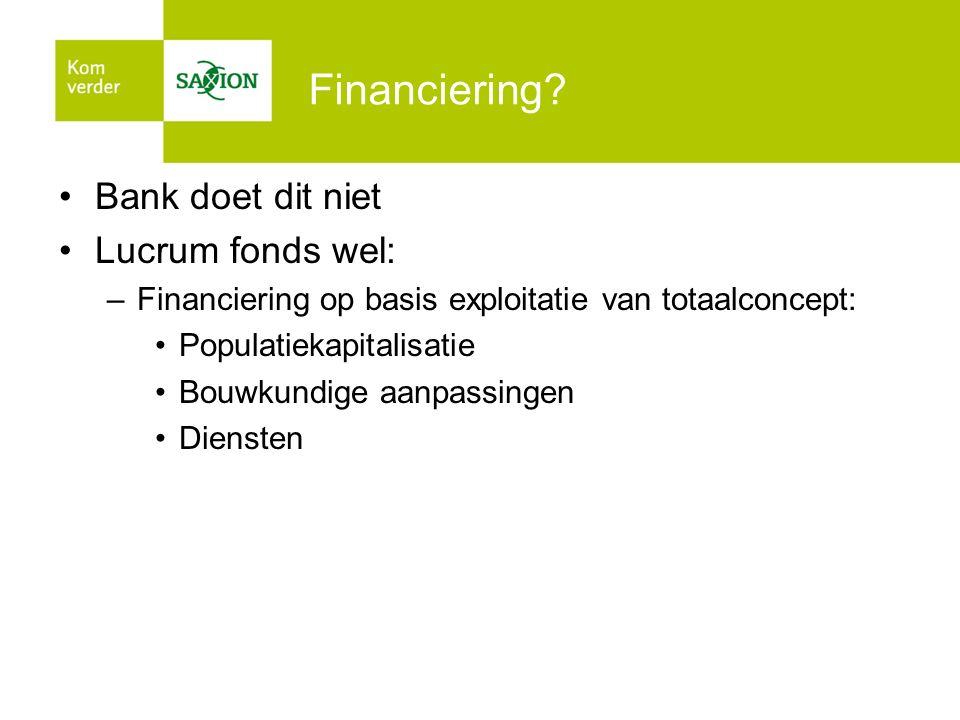 Financiering? Bank doet dit niet Lucrum fonds wel: –Financiering op basis exploitatie van totaalconcept: Populatiekapitalisatie Bouwkundige aanpassing
