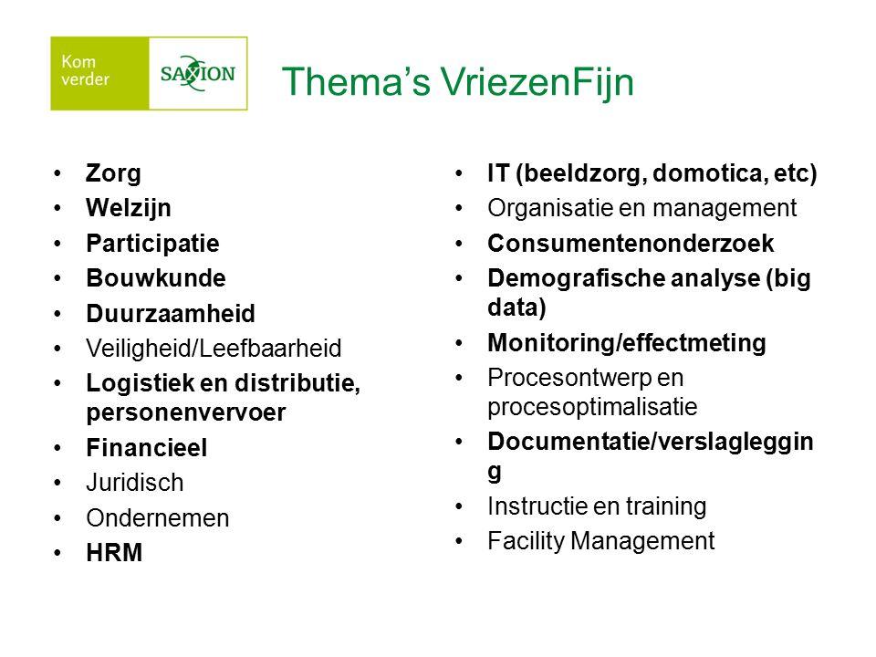 Thema's VriezenFijn Zorg Welzijn Participatie Bouwkunde Duurzaamheid Veiligheid/Leefbaarheid Logistiek en distributie, personenvervoer Financieel Juri