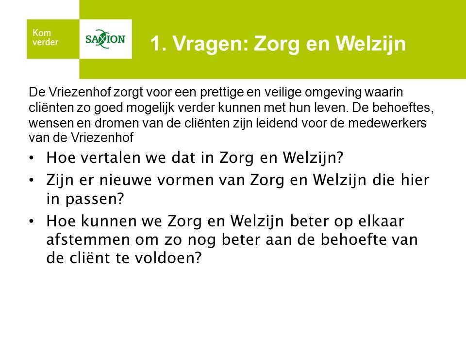 1. Vragen: Zorg en Welzijn De Vriezenhof zorgt voor een prettige en veilige omgeving waarin cliënten zo goed mogelijk verder kunnen met hun leven. De