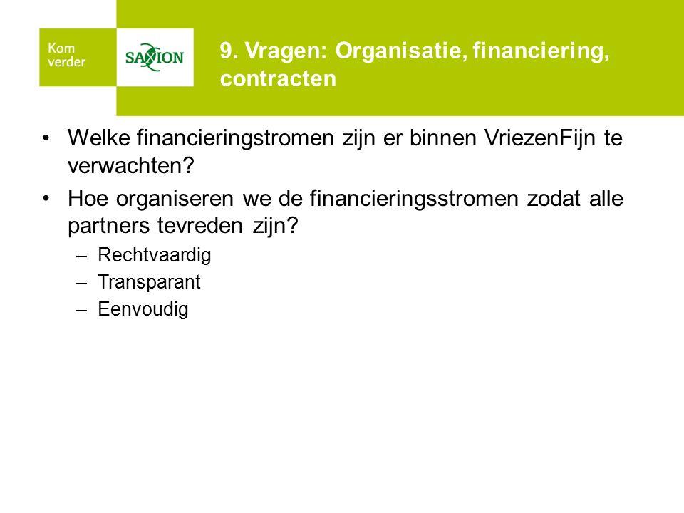 9. Vragen: Organisatie, financiering, contracten Welke financieringstromen zijn er binnen VriezenFijn te verwachten? Hoe organiseren we de financierin