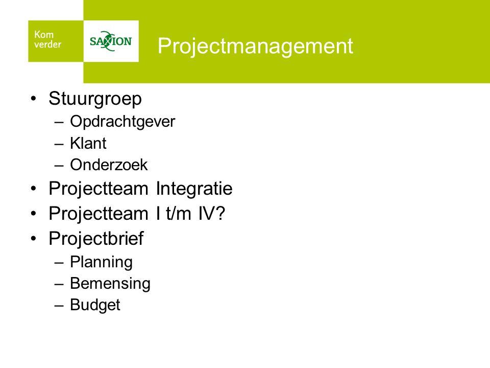 Projectmanagement Stuurgroep –Opdrachtgever –Klant –Onderzoek Projectteam Integratie Projectteam I t/m IV? Projectbrief –Planning –Bemensing –Budget