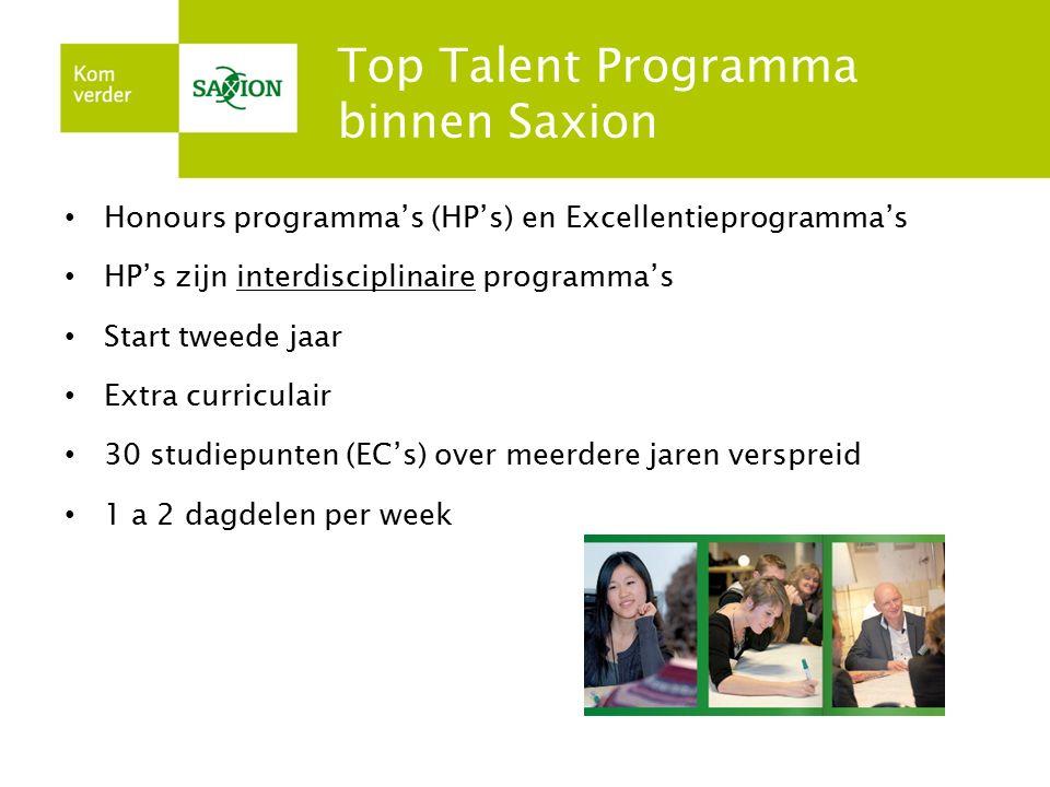 Top Talent Programma binnen Saxion Honours programma's (HP's) en Excellentieprogramma's HP's zijn interdisciplinaire programma's Start tweede jaar Ext