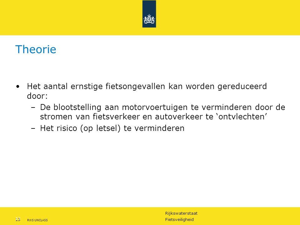 Rijkswaterstaat 13Fietsveiligheid RWS UNCLASS 13 Theorie Het aantal ernstige fietsongevallen kan worden gereduceerd door: –De blootstelling aan motorvoertuigen te verminderen door de stromen van fietsverkeer en autoverkeer te 'ontvlechten' –Het risico (op letsel) te verminderen