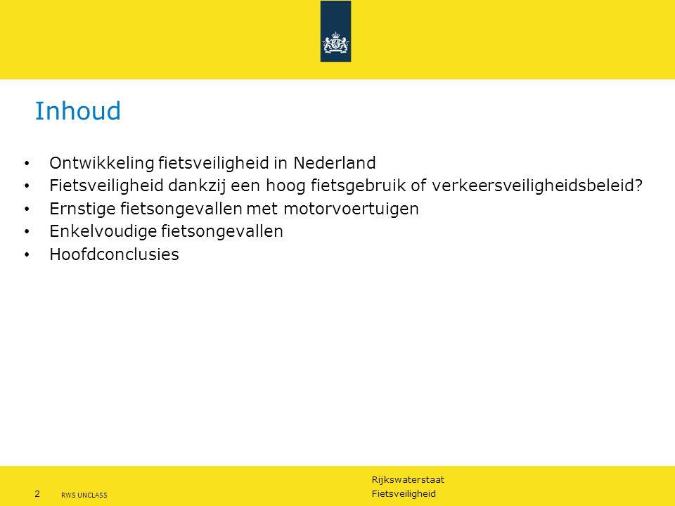 Rijkswaterstaat 3Fietsveiligheid RWS UNCLASS Lange termijn ontwikkeling risico van door de politie geregistreerde fietsdoden