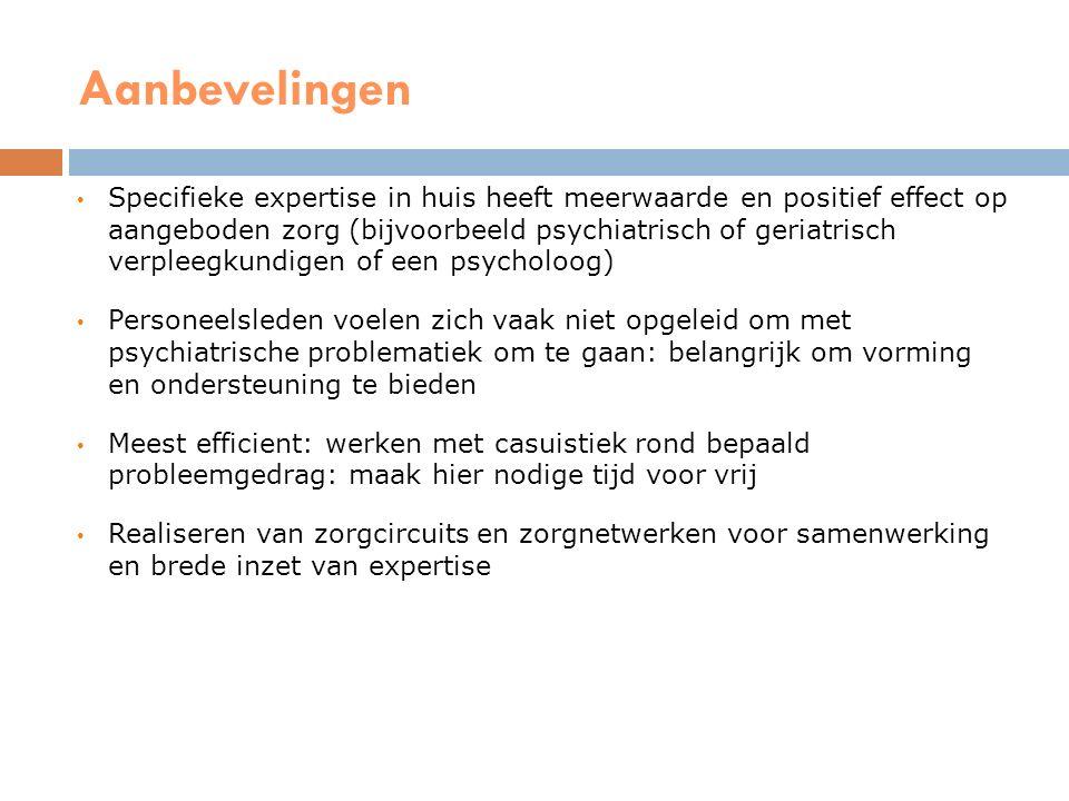 Aanbevelingen Multidisciplinair overleg Activering en betrokkenheid van bewoner/levensverhaal Niet-pluis index