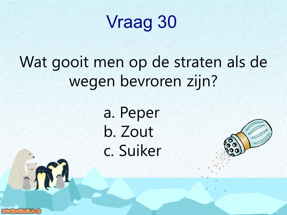 Vraag 30 Wat gooit men op de straten als de wegen bevroren zijn? a. Peper b. Zout c. Suiker