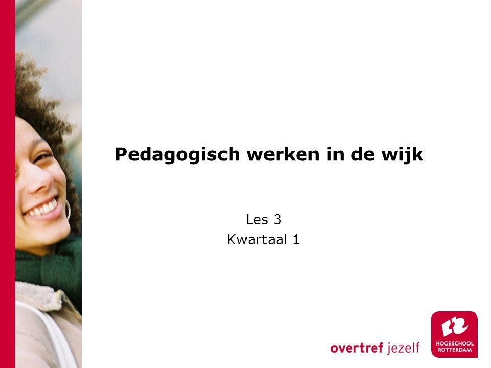 Pedagogisch werken in de wijk Les 3 Kwartaal 1