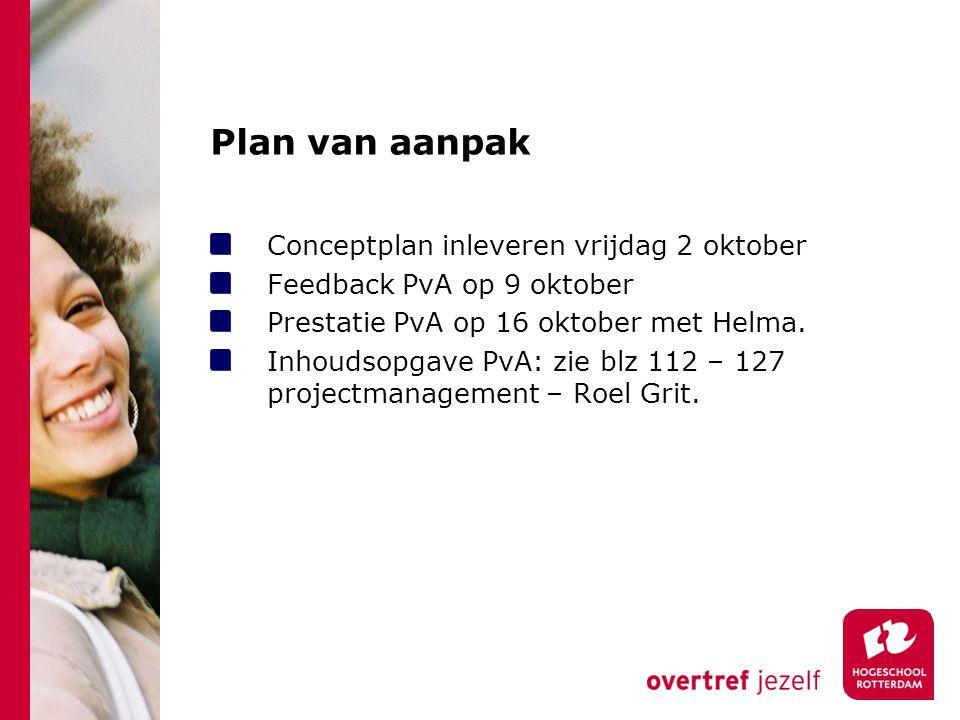 Plan van aanpak Conceptplan inleveren vrijdag 2 oktober Feedback PvA op 9 oktober Prestatie PvA op 16 oktober met Helma.